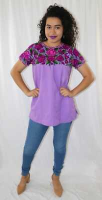 Handmade Womens Embroidered Mexican Blouse Purple Floral Blusa Artesanal Bordada