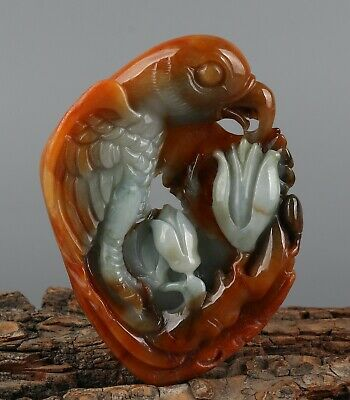 Chinese Exquisite Hand-carved eagle Carving jadeite jade statue