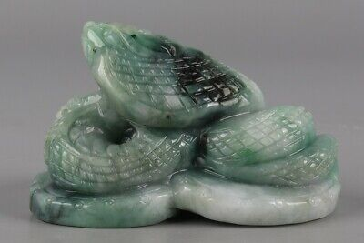 Chinese Exquisite Hand-carved snake Carving jadeite jade statue