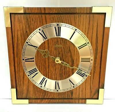 Vintage MCM Linden Wall Clock Oak Wood Square