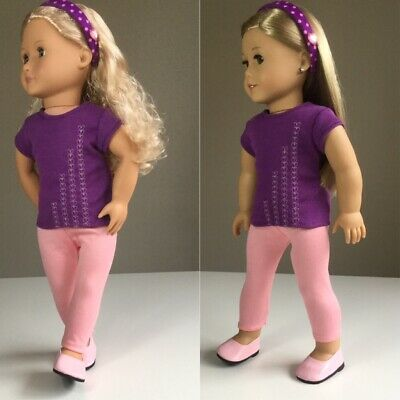 """Fit American Girl And Our Generation. Top, Leggings + shoes. 18"""" Doll Clothes."""