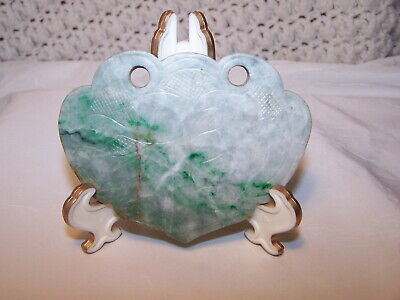 Antique JADE Chinese PENDANT RUYI SHAPE  w/ Relief Carved celadon plaque
