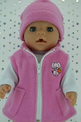"""Play n Wear Doll Clothes To Fit 17"""" Baby Born CANDY PINK JACKET~BEANIE~TOP"""