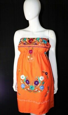 Womens Handmade Embroidered Strapless Mexican Dress Orange Small Bohemian Fiesta
