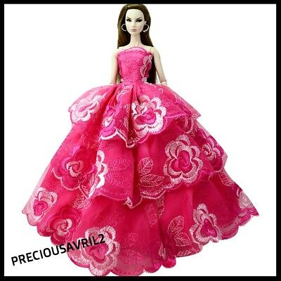 Brand new barbie doll clothes outfit princess wedding PINK embroidered dress