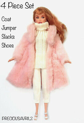 New Barbie doll clothes outfit 4 piece set fur coat jumper pants shoes winter