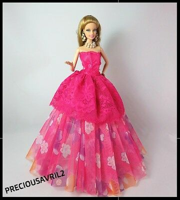New Barbie doll clothes outfit princess wedding dress gown PINK evening gown.