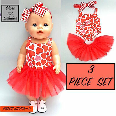 Baby born doll clothes fits 43 cm 3 piece set bodysuit headband red tutu