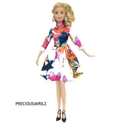 New barbie doll clothes clothing outfit floral long sleeved day dress