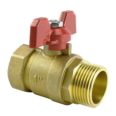 "Brass Lever Ball Shut Off Valve Compression Fitting Gas Water Air Size 1""(Inch)"