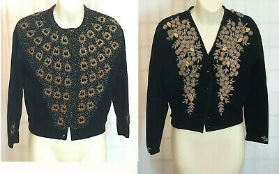 Vintage Black beaded cardigan from 1950's - Lambswool - Size 10 - Grape motif