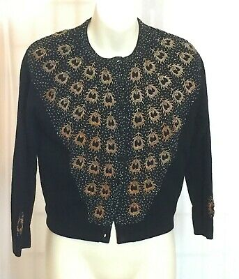 Vintage Black beaded cardigan from 1950's - Lambswool - Size 10 - Peacock motif