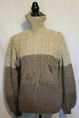 VINTAGE 1970'S ~ Handmade Oatmeal Natural Brown Pure Wool Roll Neck Jumper M