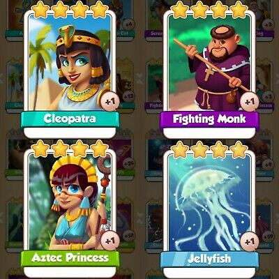 4 Cards Pack Bundle | Cleopatra | Fighting Monk | Aztec | Jellyfish Coin Master