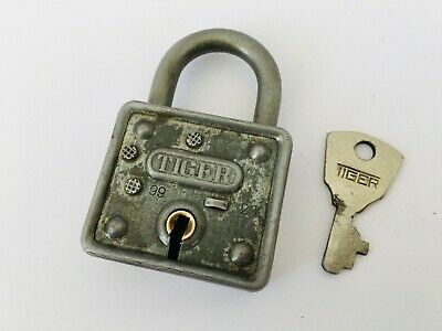 Old Vintage Solid Iron Padlock Lock With key Rear Shape Tiger India Collectible