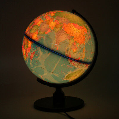 World Earth Globe Atlas  Geography Education Map LED light Desktop w/ Rotating