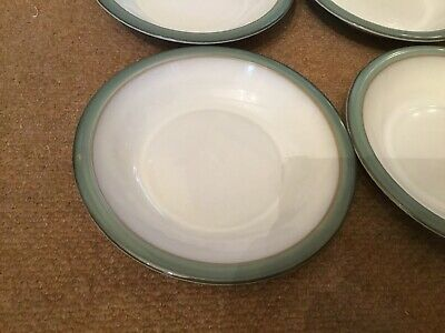 Denby Regency Green Rimmed Soup Bowls X 2 Seconds