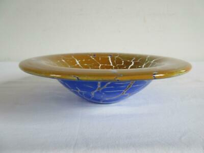 Super Dartington Studio Tangerine & Blue Dish Barbican Glass Blowers Plymouth