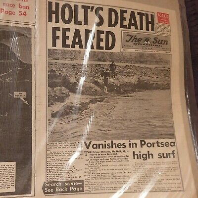 Harold Holt Disappearance - Newspaper Cover - The Sun, Dec 18th 1967