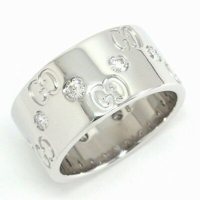 cd4b4a3b7 Auth GUCCI Icon Wide Diamond Ring 750(18K) White Gold #8 US4.