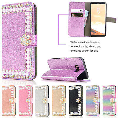 For Samsung Galaxy S10 5G S9 Note 9 A8 2018 Case Bling Leather Wallet Flip Cover