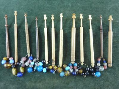 12 nice Vintage wooden turned Lace bobbins 11 with spangles #6