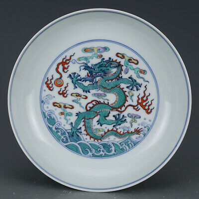 Fine Chinese Antique Porcelain Doucai /Green color Plate.Dragon water.Mark