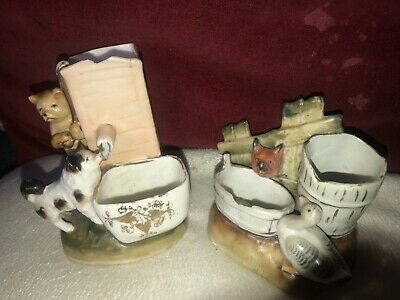 Match Strikers & Holders 2 Quirky Antique Porcelain Fox & Duck and Cat & Dog