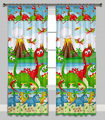 Childrens Nursery Bedroom Curtains Kids Baby Pencil Pleat Lined Dinosaurs