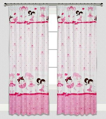 Childrens Pink Girls Nursery Bedroom Curtains Baby Pencil Pleat Lined Ballerina