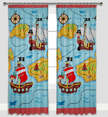 Childrens Boys Nursery Bedroom Curtains Baby Pencil Pleat Lined Pirates