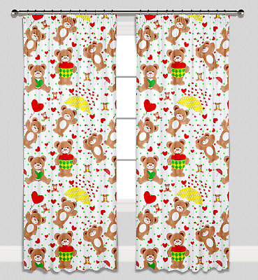 Girls Boys Nursery Bedroom Curtains Baby Pencil Pleat Lined Love Hearts Teddies