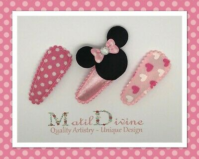 Baby Girl Toddler NonSlip Hair Clip Bow 3cm Snap Clips Minnie Love Set of 3 Pink