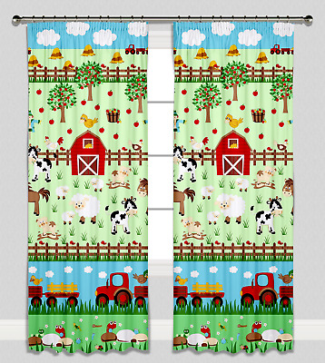 Curtains Pencil Pleat Lined for Nursery Childrens Kids Room Girl Boy Farm