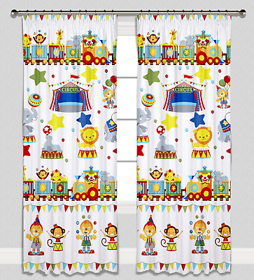 Curtains Pencil Pleat Lined for Nursery Childrens Kids Room Girl Boy Circus