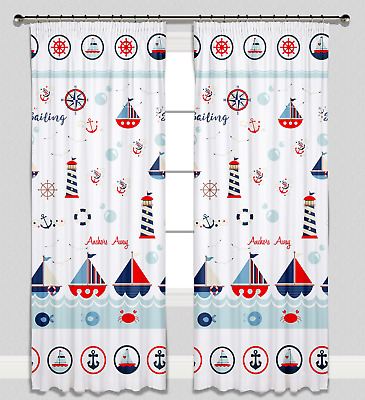 Curtains Pencil Pleat Lined for Nursery Childrens Kids Room Girl Boy Sea Boats