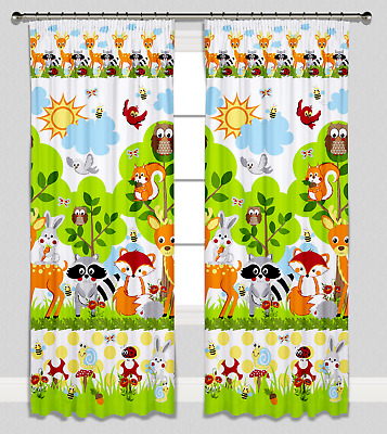 Curtains Pencil Pleat Lined Nursery Childrens Kids Room Girl Boy Forest Animals