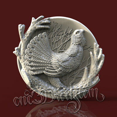 3D STL Model Grouse Bird panel for CNC Router Carving Machine Artcam aspire