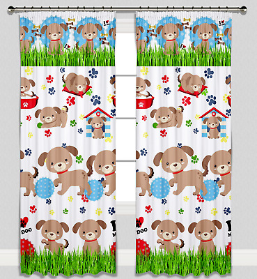 Curtains Pencil Pleat Lined Nursery Childrens Kids Room Girls Boys Dogs Puppies