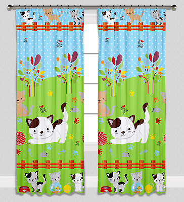 Curtains Pencil Pleat Lined Nursery Childrens Kids Room Girls Boys Cats Kittens