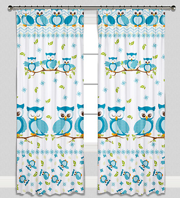 Curtains Pencil Pleat Lined Nursery Childrens Kids Room Girls Boys Blue Owls