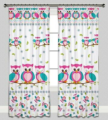 Curtains Pencil Pleat Lined Nursery Childrens Kids Baby Room Girls Pink Owls