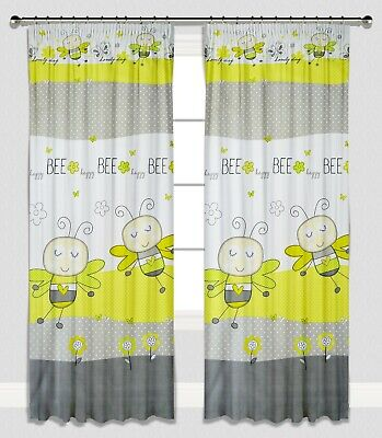 Curtains Pencil Pleat Lined Nursery Kids Baby Room Girls Boys Green Bees