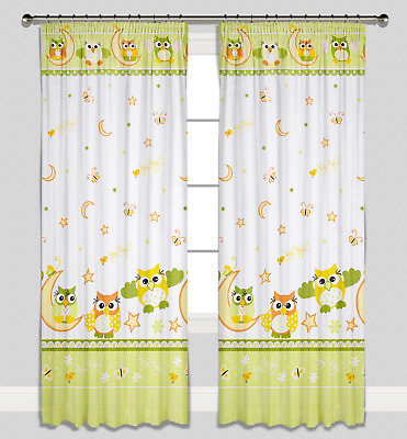 Curtains Pencil Pleat Lined Nursery Kids Baby Room Girls Boys Green Owls