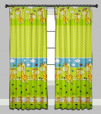 Curtains Pencil Pleat Lined Nursery Kids Baby Room Girls Boys Green Giraffe
