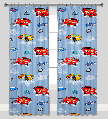 Curtains Pencil Pleat Lined Nursery Kids Baby Room Boys Blue Cars Zigzag
