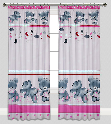 Curtains Pencil Pleat Lined Nursery Kids Baby Room Girls Pink Teddy Bears