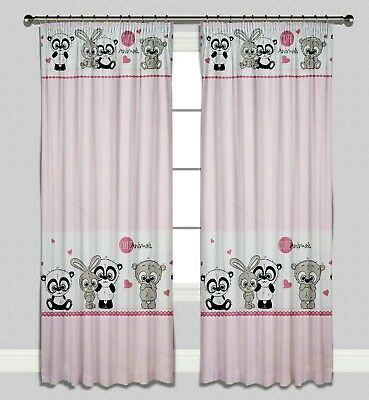 Curtains Pencil Pleat Lined Nursery Kids Baby Room Girls Pink Cute Animals