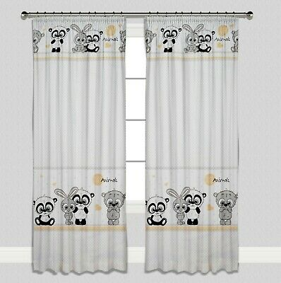 Curtains Pencil Pleat Lined Nursery Kids Baby Room Girls  Boys Grey Cute Animals