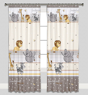 Curtains Pencil Pleat Lined Nursery Kids Baby Room Girls Boys Beige Zoo Imagine